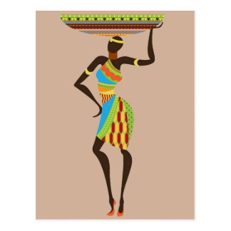 African Tribal Lady with basket tribal art Postcard