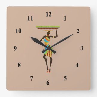 African Tribal Lady with basket tribal art Square Wallclocks