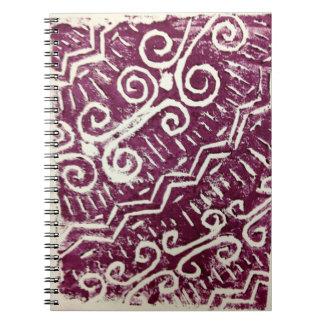 African Tribal Lino-Print Notebook (Purple)