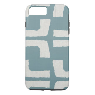African Tribal Mudcloth White Blue Linen Look iPhone 8 Plus/7 Plus Case