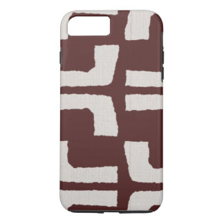 African Tribal Mudcloth White Red Linen Look iPhone 7 Plus Case
