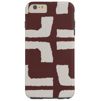 African Tribal Mudcloth White Red Linen Look Tough iPhone 6 Plus Case