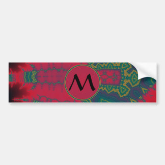 African Tribal Triangles Green with Red Monogram Bumper Sticker