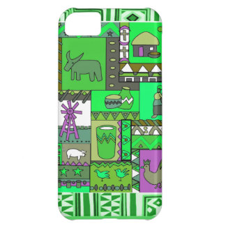 African village scene -apple green iPhone 5C cases