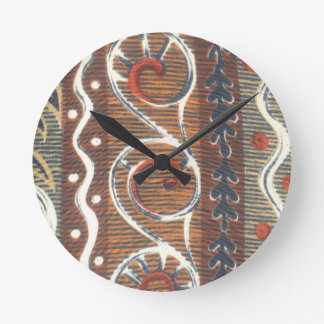 African Vintage Ancient Traditional Time Colors Round Clock