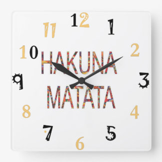 African Vintage Colors Hakuna Matata gift large Square Wall Clock