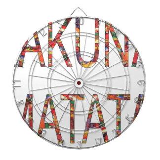 African Vintage Colors Hakuna Matata.jpg Dartboard With Darts