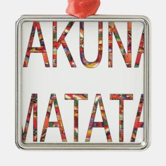African Vintage Colors Hakuna Matata.jpg Square Metal Christmas Ornament