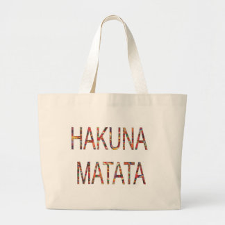 African Vintage Faddy Colors Hakuna Matata Large Tote Bag