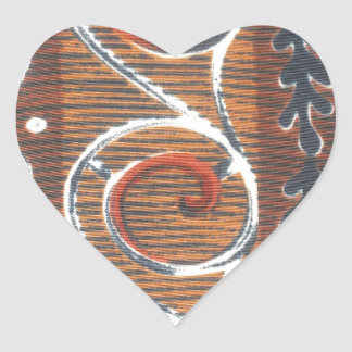 African Vintage heart Traditional Colors Heart Sticker