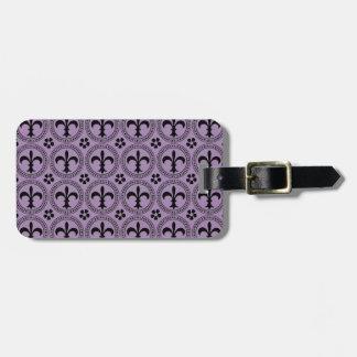 African Violet And Black Fleur De Lis Pattern Tag For Bags