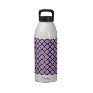 African Violet And Black Quatrefoil Mesh Pattern Water Bottles