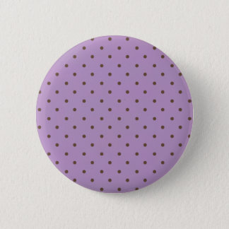 African Violet And Brown Polka Dots Pattern Pinback Button