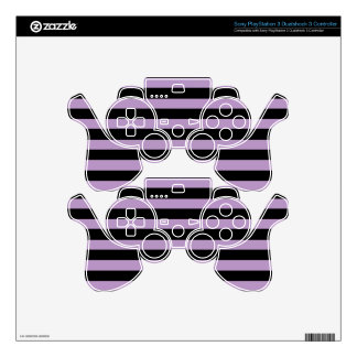 African Violet And Horizontal Black Stripes PS3 Controller Skins