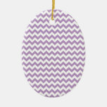 African-Violet-And-White Chevron Christmas Tree Ornament