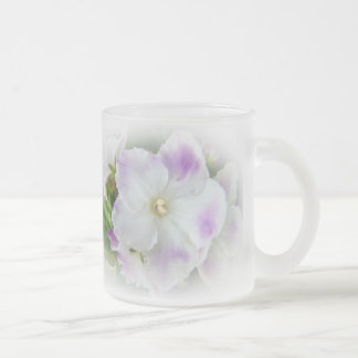 African Violet Blossom 10 Oz Frosted Glass Coffee Mug