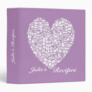 African Violet Purple Bridal Shower Recipe Binder