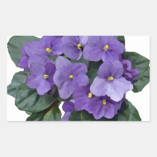 African Violet Purple Garden Flower Rectangular Sticker