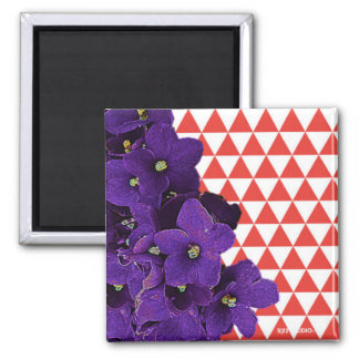 African Violet Red Pyramid Magnet