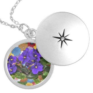 African violet round locket necklace