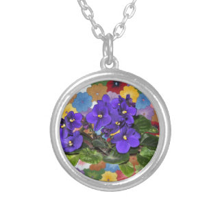 African violet round pendant necklace