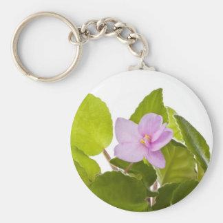 african violet - saintpaulia ionantha basic round button keychain