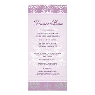 African Violet & Silver Damask Slim Dinner Menu