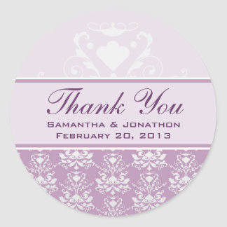 African Violet & Silver Damask Wedding Labels