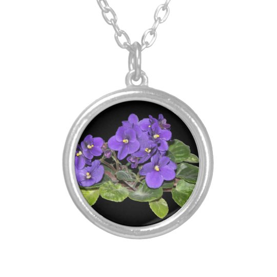 African violet silver plated necklace