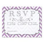 African Violet & White Chevron Wedding RSVP Cards Invite
