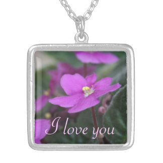 African Violets Personalized I Love You Silver Plated Necklace