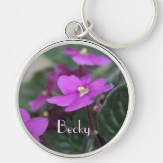 African Violets Personalized Silver-Colored Round Keychain