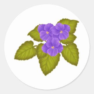 African Violets Purple Round Stickers