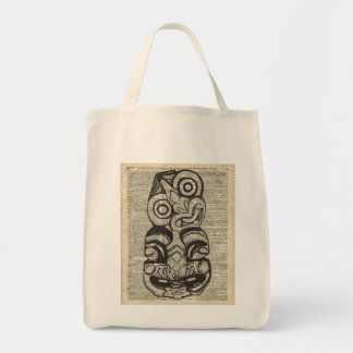 African Voo Doo Mask Stencil Over Old Book Page Tote Bag