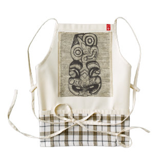 African Voo Doo Mask Stencil Over Old Book Page Zazzle HEART Apron