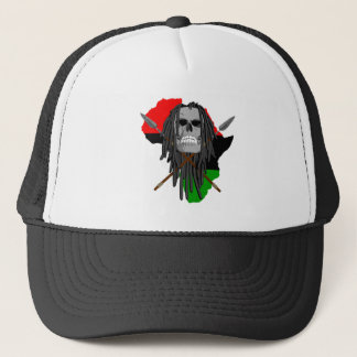 African Warrior Skull Trucker Hat