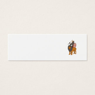 African Warrior Spear Hunting With Lion Drawing Mini Business Card