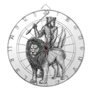 African Warrior Spear Lion Tattoo Dartboard