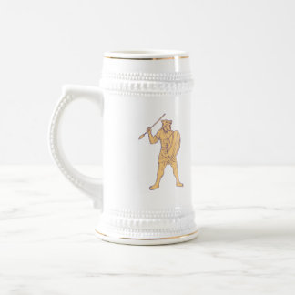 African Warrior Wolf Mask Spear Drawing Beer Stein