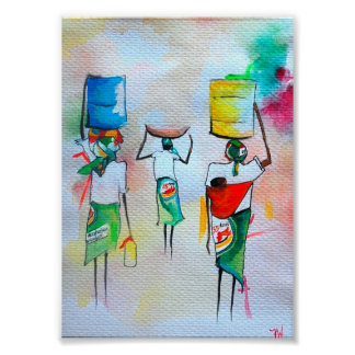 African  Watercolour painting Premium Canvas Gloss Poster