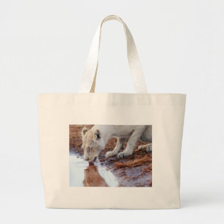 African White Lion Reflection Large Tote Bag