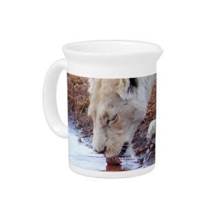 African White Lion Reflection Pitcher
