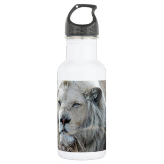 African white lion resting 18oz water bottle