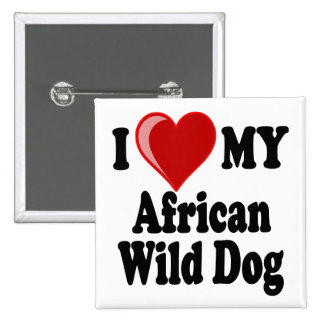 African Wild Dog 2 Inch Square Button