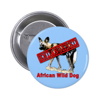 African Wild Dog Endangered Animal Products Pin