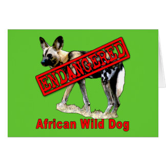 African Wild Dog Endangered Animal Products Card
