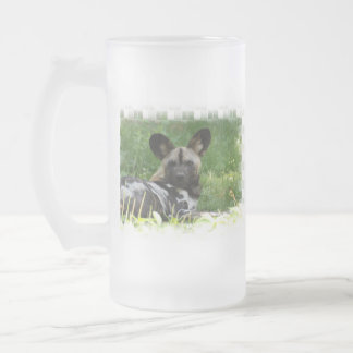African Wild Dog Photo Frosted Beer Mug