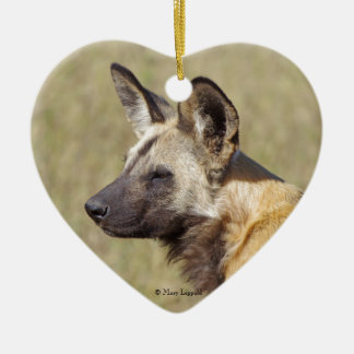 African Wild Dog Portrait Ceramic Ornament