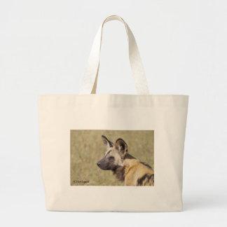 African Wild Dog Portrait Large Tote Bag