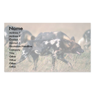 African Wild Dogs hunting on savanna Double-Sided Standard Business Cards (Pack Of 100)